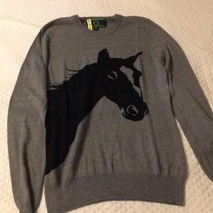 C wonder grey horse sweater size medium
